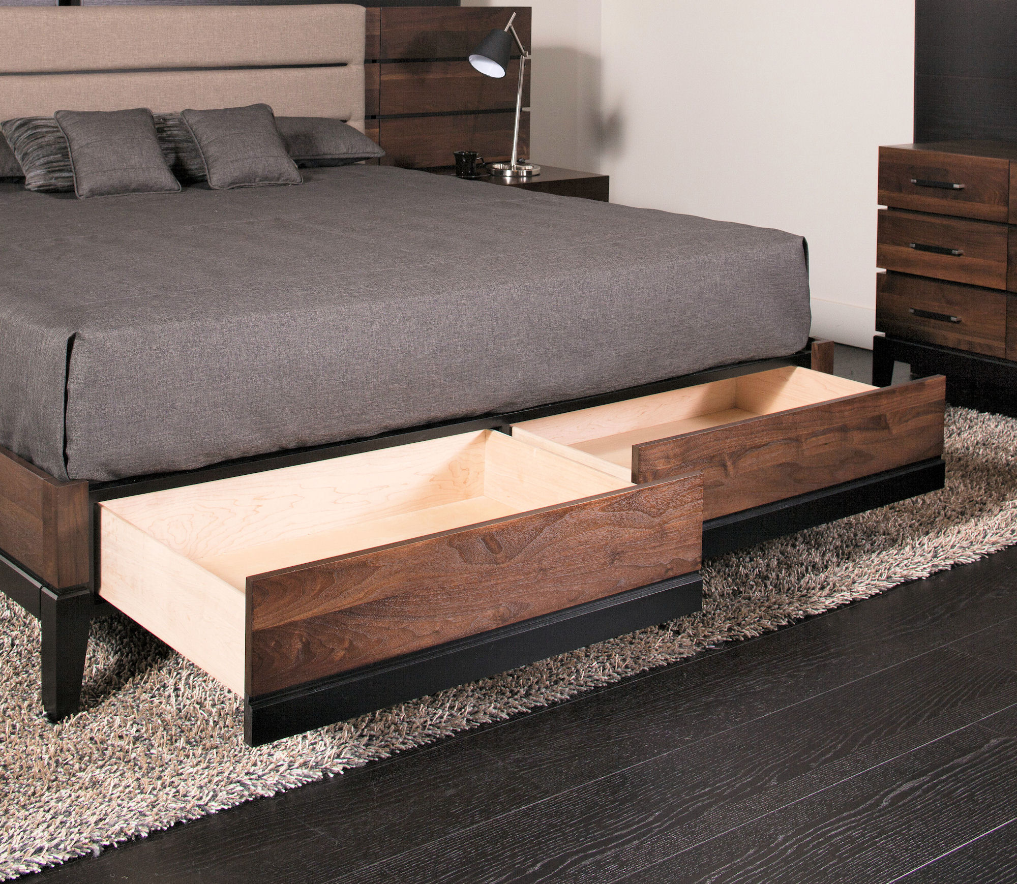 Upholstered panel beds with storage drawers for Upholstered bed with drawers
