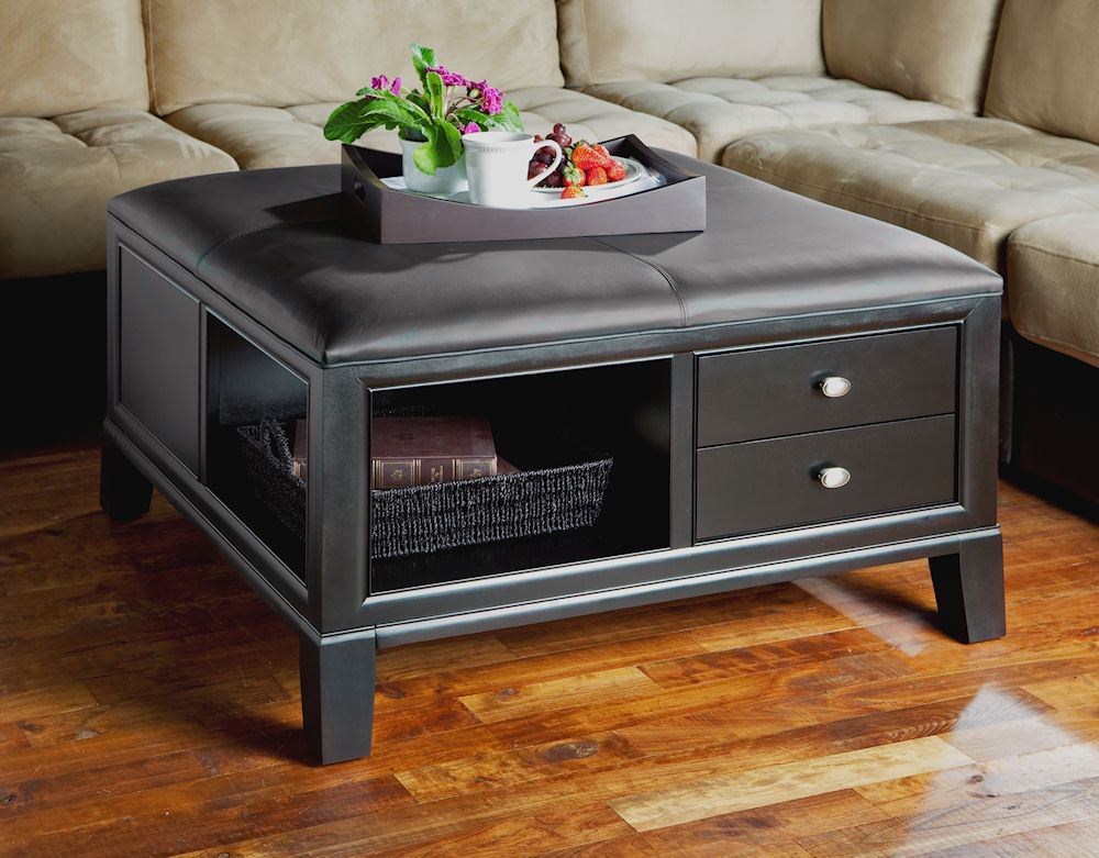 3095LT square cocktail table with leather top